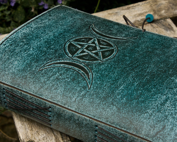 A5 distressed sea blue leather journal - triple moon phase goddess - earthworks journals - A5C048