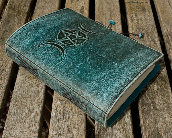 A5 distressed sea blue leather journal - triple moon phase goddess 3 - earthworks journals - A5C048