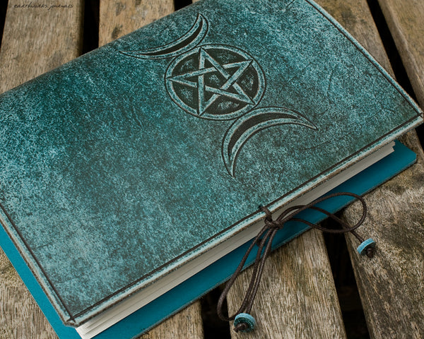 A5 distressed sea blue leather journal - triple moon phase goddess 4 - earthworks journals - A5C048