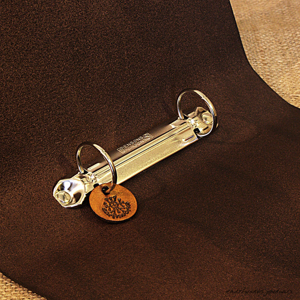 A5 brown leather 2 ring binder - plain classic open - earthworks journals A5B002