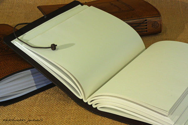 A5 dark brown leather journal - open - earthworks journals