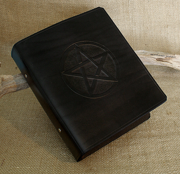 A5 black leather 2 ring binder - book of shadows - grimoire - pentagram design 2 - earthworks journals A5B005