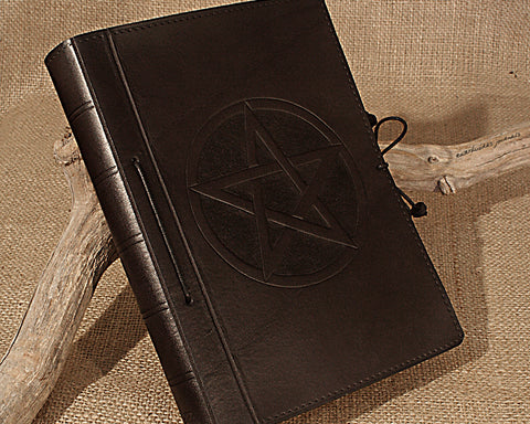 A5 black leather journal - pentagram - earthworks journals - A5C022
