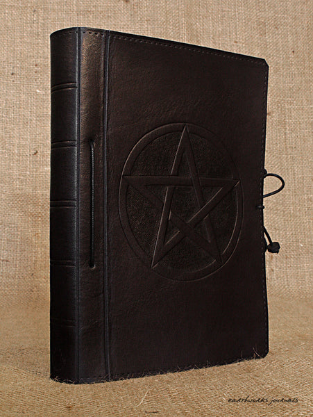 A5 black leather journal - pentagram 2 - earthworks journals - A5C022