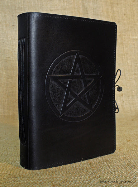 A5 black leather journal - pentagram 3 - earthworks journals - A5C025