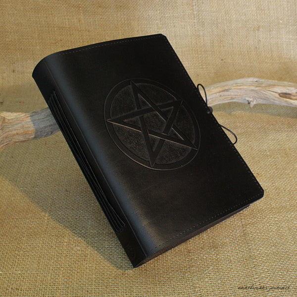 A5 black leather journal - pentagram 2 - earthworks journals - A5C025
