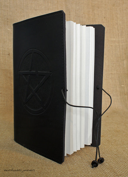 A5 black leather journal - pentagram open - earthworks journals - A5C025