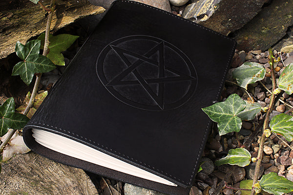 A5 black leather journal - pentagram - earthworks journals - A5C025