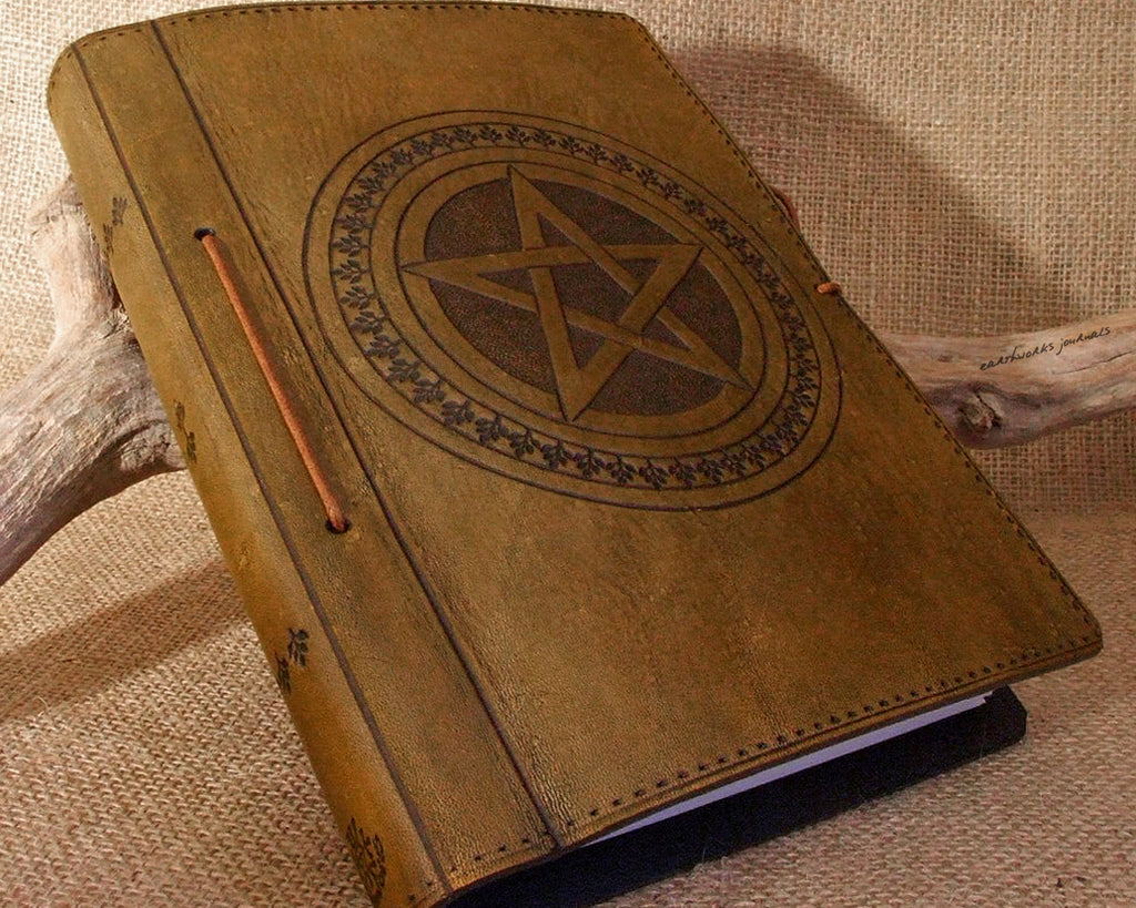 A5 brown leather journal - book of shadows - pentagram - earthworks journals - A5C004