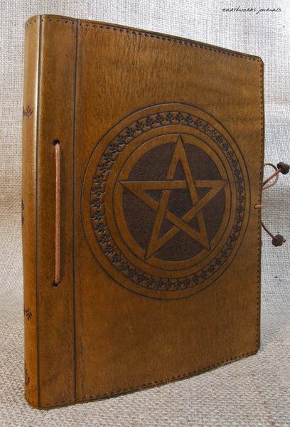 A5 brown leather journal - book of shadows - pentagram 2 - earthworks journals - A5C004