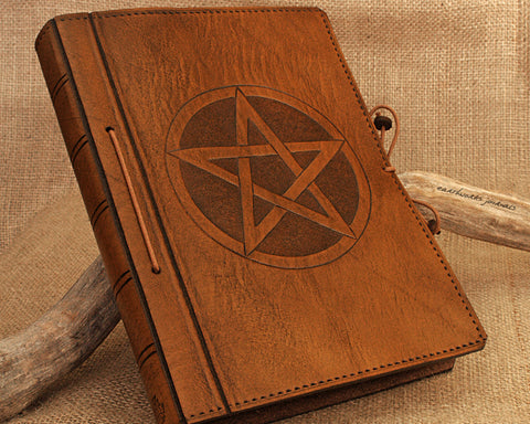 A5 brown leather journal - book of shadows - pentagram - pentacle - earthworks journals - A5C020