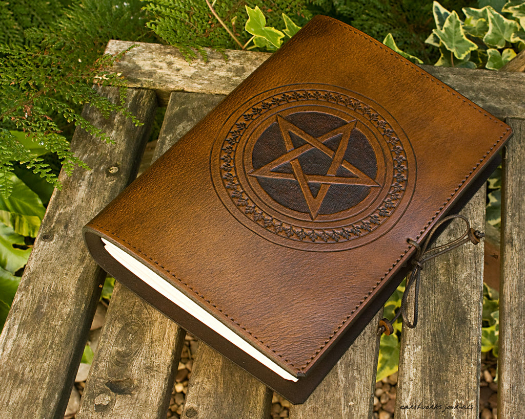 A5 brown leather journal - pentagram - earthworks journals - A5C029