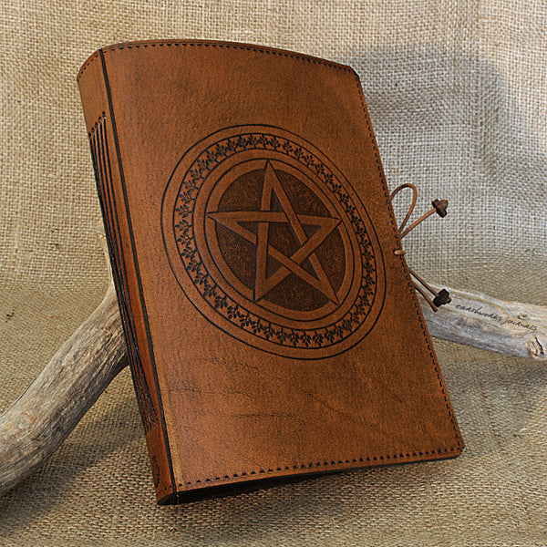 A5 brown leather journal - pentagram 2 - earthworks journals - A5C029