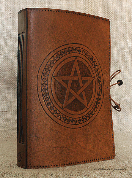 A5 brown leather journal - pentagram 3 - earthworks journals - A5C029