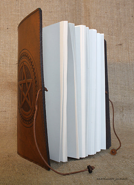 A5 brown leather journal - pentagram - earthworks journals open - A5C029