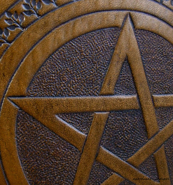 A5 brown leather journal - book of shadows - pentagram detail - earthworks journals - A5C004