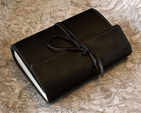 A5 rugged black leather journal - wraparound - earthworks journals - A5W008