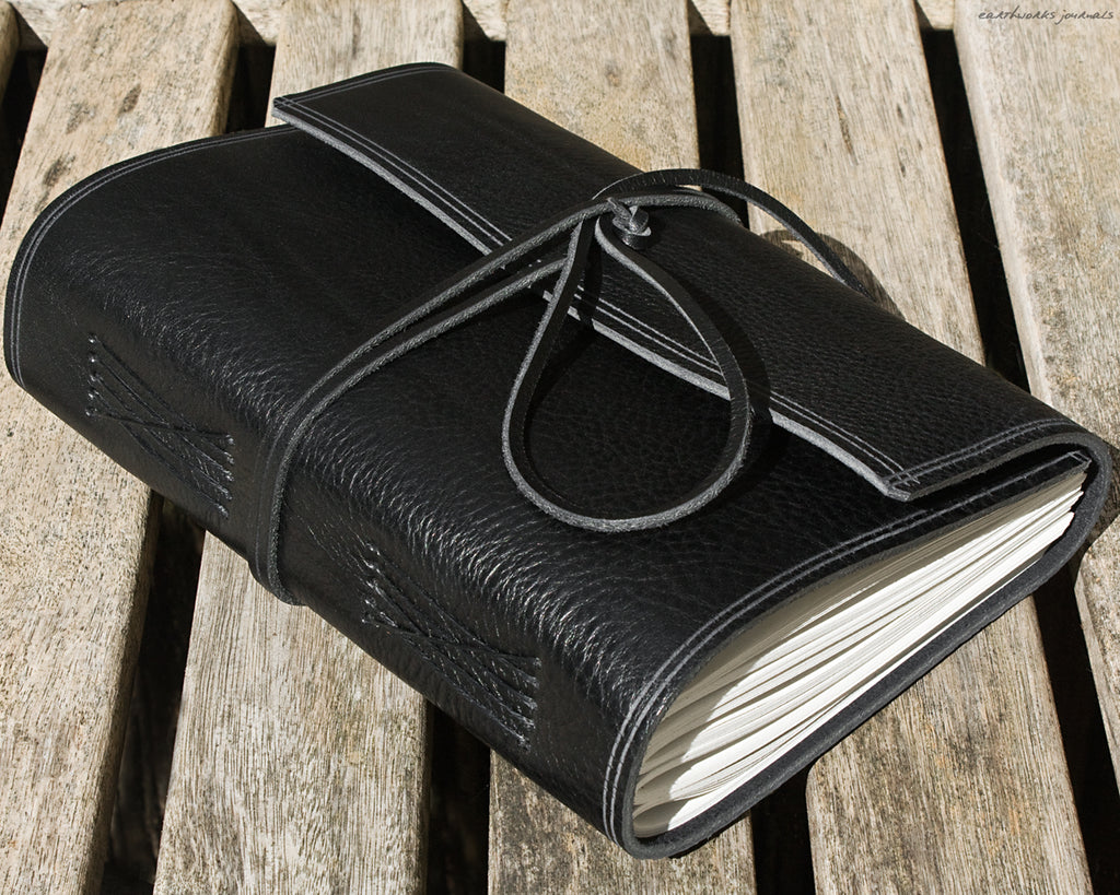 A5 rugged black leather journal 2 - wraparound - earthworks journals - A5W008