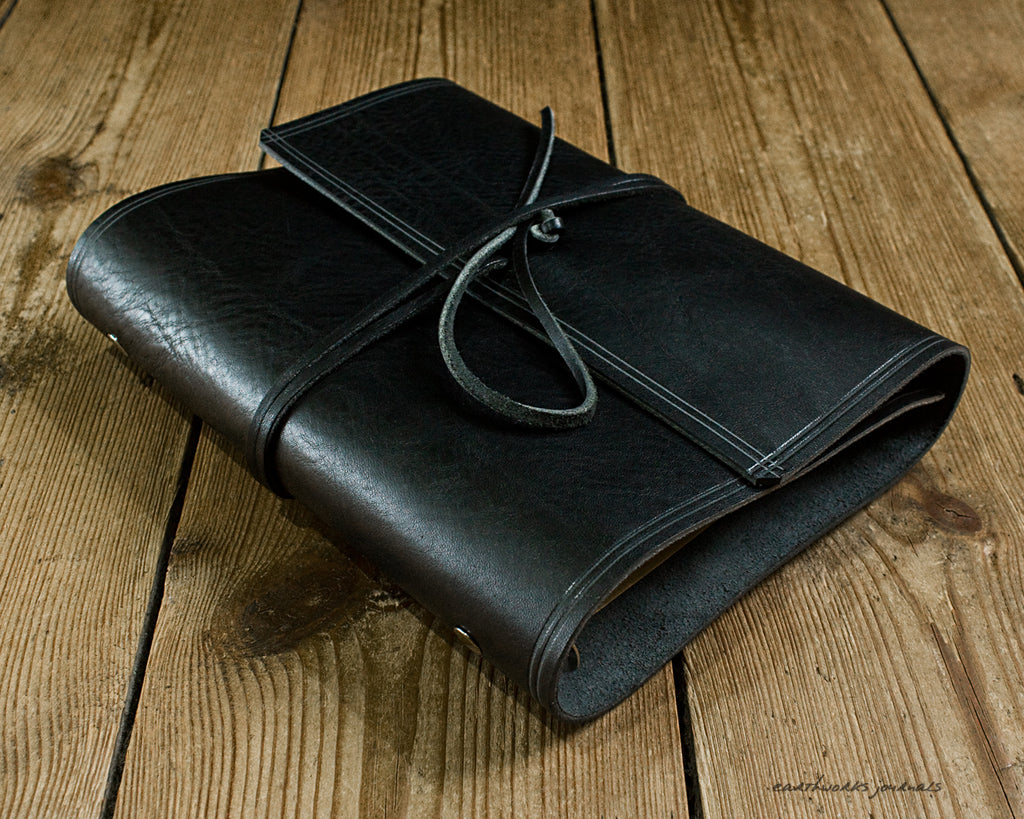 A5 rugged black leather organiser - wraparound - earthworks journals - A5WB007