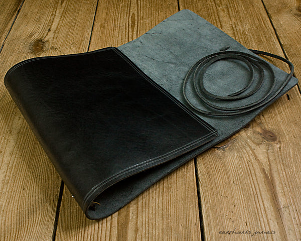 A5 rugged black leather organiser 2 - wraparound - earthworks journals - A5WB007