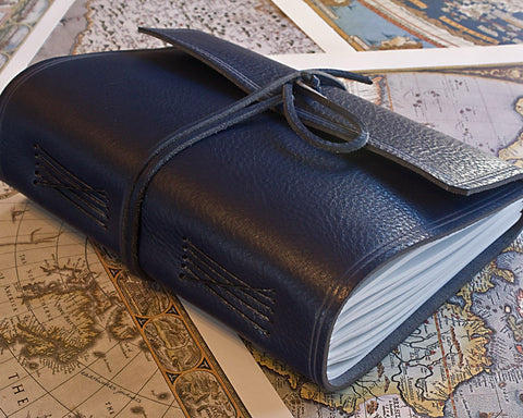 A5 rugged blue leather journal - wraparound - earthworks journals - A5W010