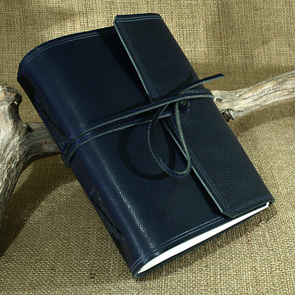 A5 rugged blue leather journal - wraparound 2 - earthworks journals - A5W010