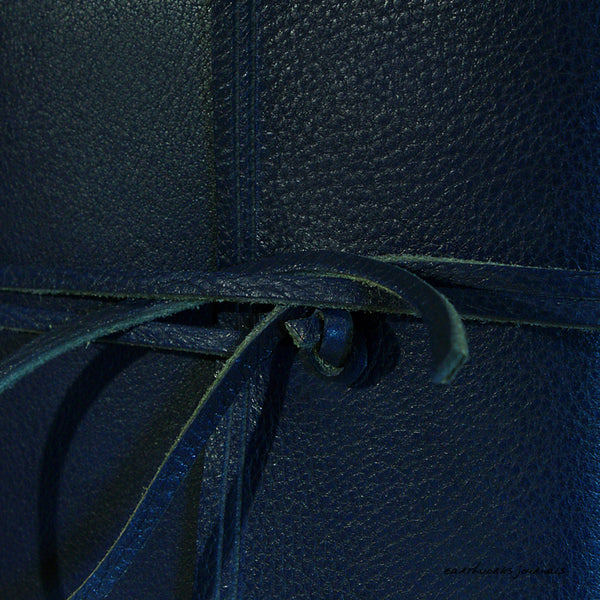 A5 rugged blue leather journal - wraparound detail - earthworks journals - A5W010