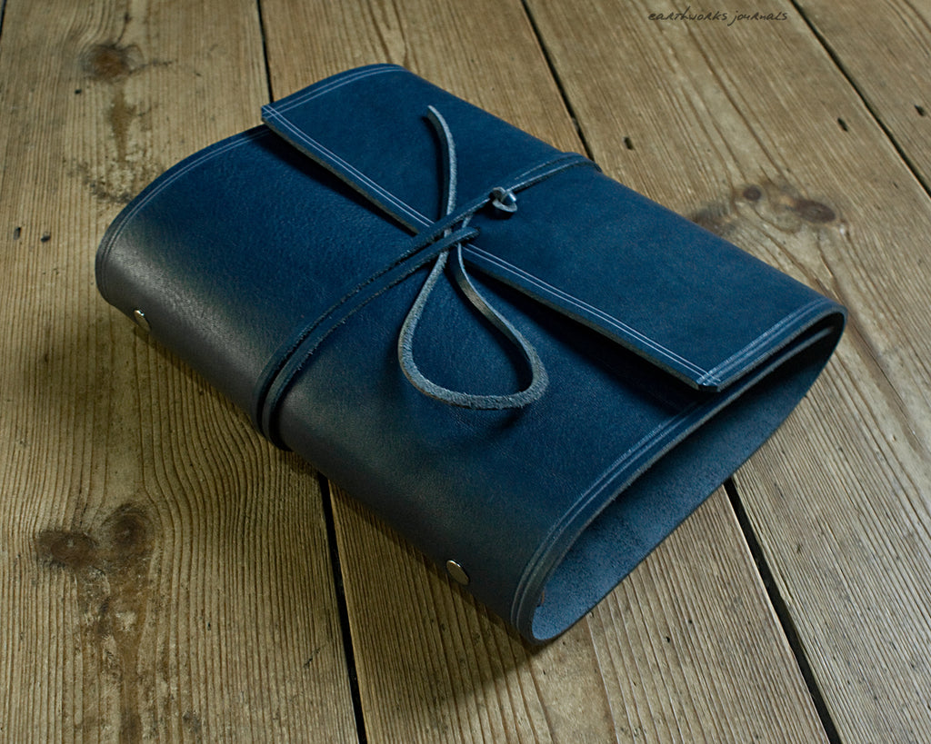 A5 rugged blue leather organiser - wraparound - earthworks journals - A5WB009