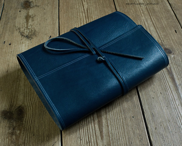 A5 rugged blue leather organiser 2 - wraparound - earthworks journals - A5WB009