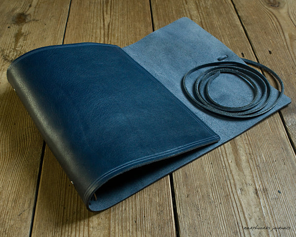 A5 rugged blue leather organiser 3 - wraparound - earthworks journals - A5WB009