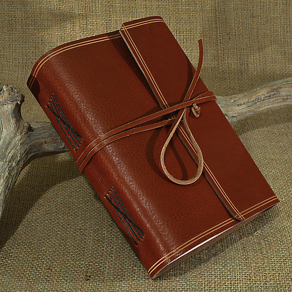 A5 rugged brown leather journal - wraparound - earthworks journals - A5W002