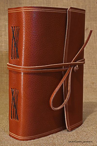 A5 rugged brown leather journal - wraparound 2 - earthworks journals - A5W002