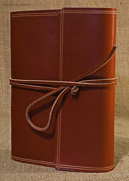 A5 rugged brown leather journal - wraparound 3 - earthworks journals - A5W002
