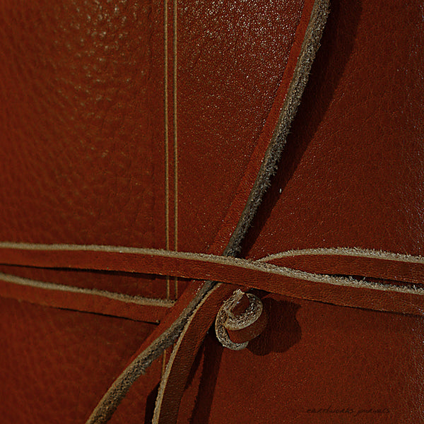 A5 rugged brown leather journal - wraparound detail - earthworks journals - A5W002