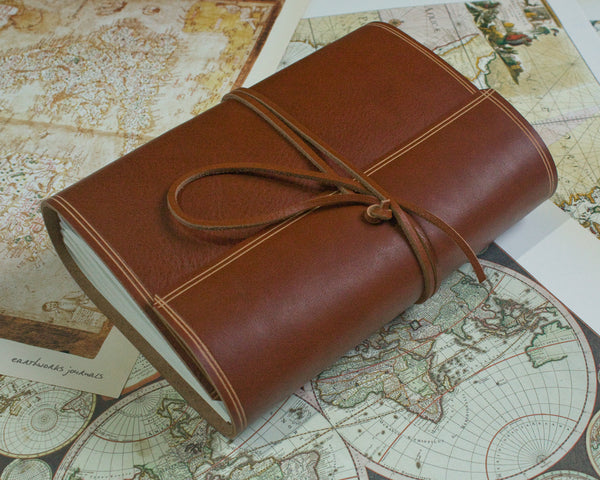 A5 rugged brown leather journal - wraparound 5 - earthworks journals - A5W002