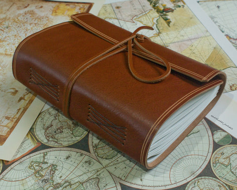 A5 rugged brown leather journal - wraparound 4 - earthworks journals - A5W002