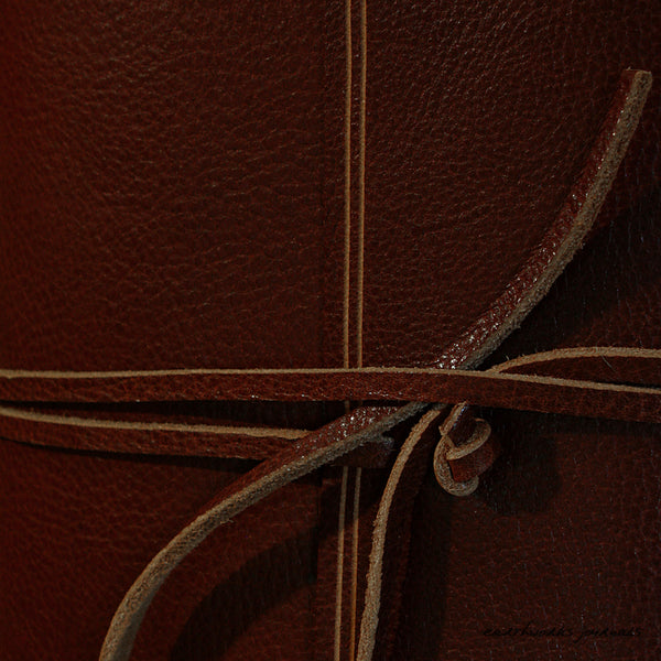 A5 rugged chestnut brown leather journal - wraparound detail - earthworks journals - A5W007