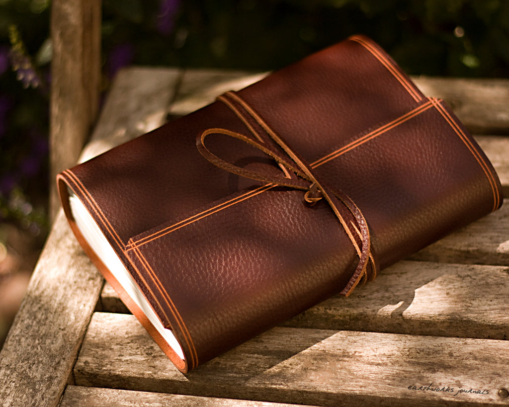 A5 rugged chestnut brown leather journal - wraparound - earthworks journals - A5W007
