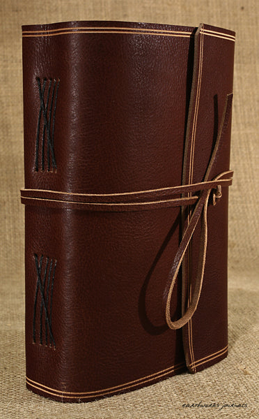 A5 rugged chestnut brown leather journal - wraparound 3 - earthworks journals - A5W007