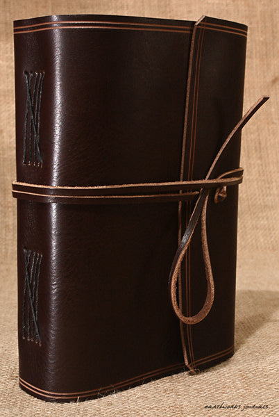 A5 rugged dark brown leather journal - wraparound 2 - earthworks journals - A5W001