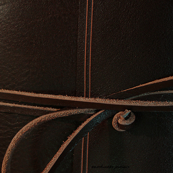 A5 rugged dark brown leather journal - wraparound detail - earthworks journals - A5W001