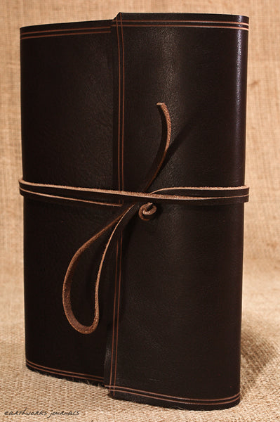 A5 rugged dark brown leather journal - wraparound 3 - earthworks journals - A5W001
