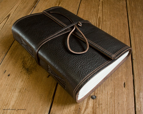 A5 rugged dark brown leather journal - wraparound - earthworks journals - A5W001