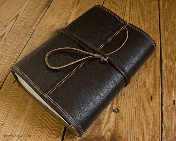 A5 rugged dark brown leather journal - wraparound 4 - earthworks journals - A5W001