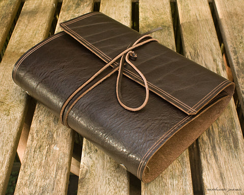 A5 rugged dark brown leather organiser - wraparound - earthworks journals - A5WB002
