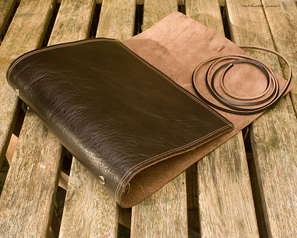 A5 rugged dark brown leather organiser - wraparound 2 - earthworks journals - A5WB002