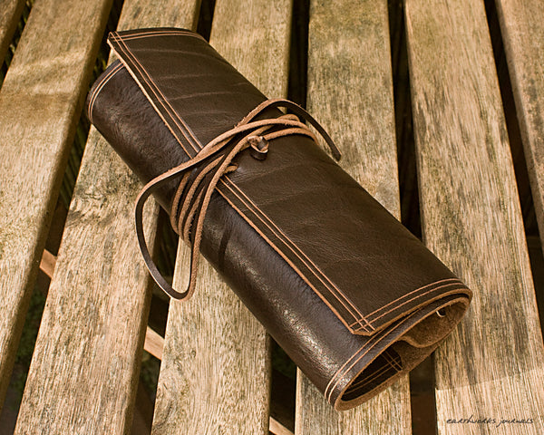A5 rugged dark brown leather organiser - wraparound 4 - earthworks journals - A5WB002