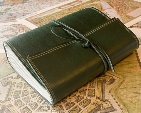 A5 rugged green leather journal - wraparound - earthworks journals - A5W005