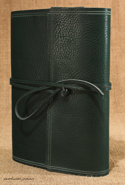 A5 rugged green leather journal - wraparound 4 - earthworks journals - A5W005