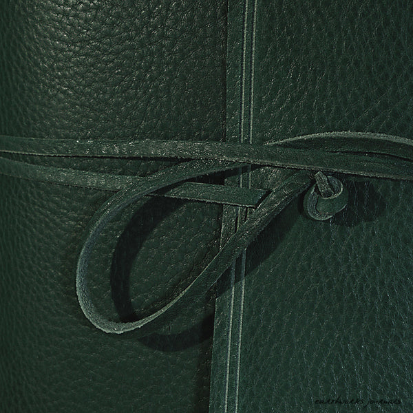 A5 rugged green leather journal - wraparound detail - earthworks journals - A5W005